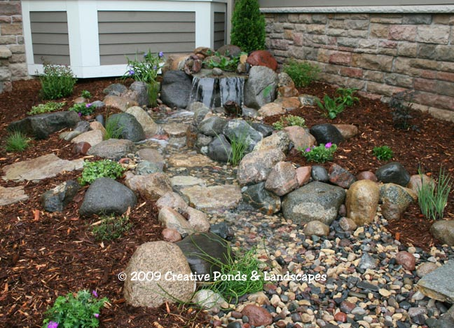 Pond To A Pondless Waterfall Installation Photo. Pondless Waterfall  Installation Lino Lakes MN